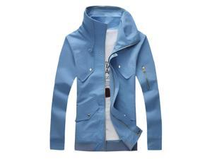 Shefetch Men's Fit Cotton Zip Up Long Sleeve Outerwear Jackets Azure M