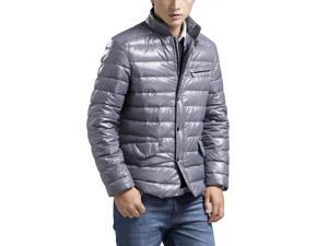 Shefetch Men's Fitted Autumn Latest 3 Colors 5 Sizes Polyester Mens Outerwear Grey XL