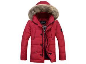 Shefetch Men's Stylish Designed Autumn Mens Outerwear 5 Sizes Dark Red XL