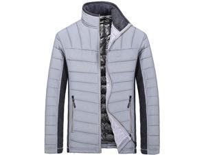 Shefetch Men's Casual Stylish Fashion 2015 Autumn 4 Colors Mens Outerwear Grey 3XL