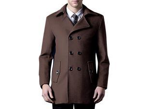 Shefetch Men's Slim Fit Autumn Stylish Polyester 2 Colors Mens Outerwear Brown   S