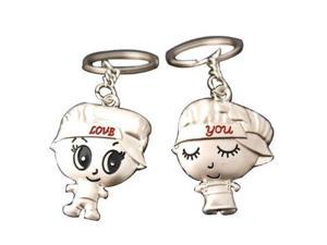 Metal Nickel Key Ring Keychains Custom Key Chain Boy And Girl Shape For Lovers Sweethearts Valentine's Day Gift(Pack Of 2)