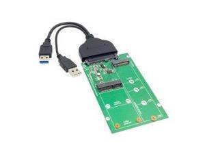 Smays USB 3.0 to SATA 22pin 2.5 Hard Disk to 2 in 1 Combo Mini PCI- E 2 Lane M.2 NGFF & mSATA SSD Adapter Converter