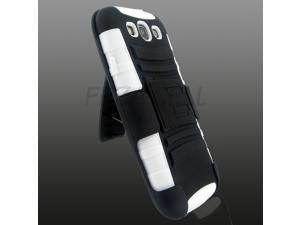 Black+Black+White Robotic Case Cover w/ Holster Kick Stand For Samsung Galaxy S3