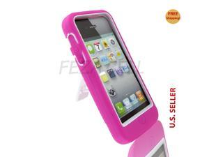 Hot Pink and White Robotic Case Hard&Soft 2 Parts Cover With Kick Stand For Apple iPhone 5S/ 5 5G