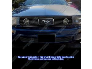Fits 2005-2009 Ford Mustang V6 Pony Package Black Billet Grille Grill Combo # F61219H