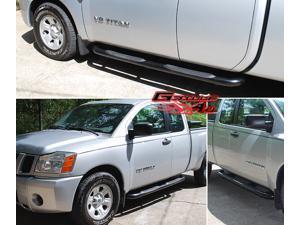Fits 2004-2014 Nissan Titan Ext & King Cab Black Side Step Nerf Bars