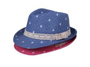 Hot Sale Blue&Rose Laciness Kids Cap Fedora Trilby Jazz Hat Heart Fit Boys Girls