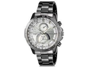 DINIHO 8012G Solar Powered 100M Water Resistant Men's Analog Sports Wrist Watch with Stainless Steel Band (Black/White)
