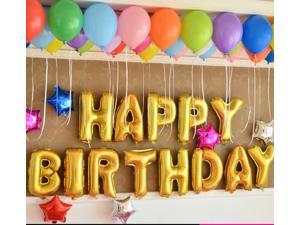 """16"""" Gold Foil Alphabet Balloons Combination Letters Happy Birthday Decor Supply (Total 13 Letters)"""