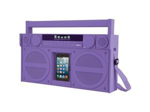 IHOME iBT44UC Bluetooth(R) Portable FM Stereo Boom Box with USB Charging (Purple)
