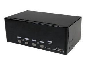 4 Port Triple Monitor Dvi Usb Kvm Switch With Audio & Usb 2.0 Hub - Kvm / Audio / Usb Switch - 4 Ports - Desktop - SV431TDVIUA