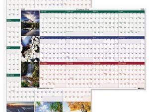 House of Doolittle Earthscapes 100% Recycled Nature Scenes Reversible/Erasable Yearly Wall Calendar - HOD3930