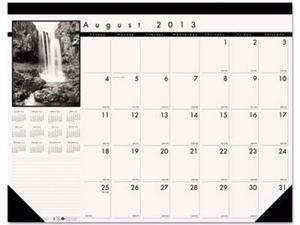 House of Doolittle Black-on-White Photo 100% Recycled Monthly Desk Pad Calendar - HOD1225
