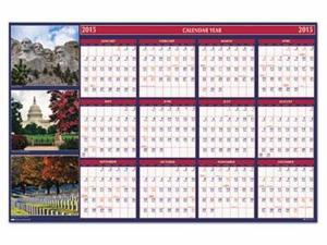House of Doolittle Earthscapes 100% Recycled US Monuments Reversible/Erasable Yearly Wall Calendar - HOD3986
