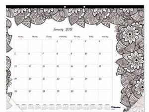 Blueline Monthly Desk Pad Calendar with Coloring Pages - REDC2917311