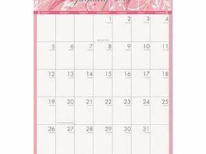 House of Doolittle Breast Cancer Awareness 100% Recycled Monthly Wall Calendar - HOD3672