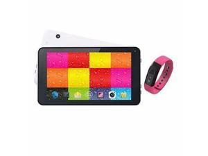 "7"" White Tablet And Pink Fitband - SC-6207FitPK"