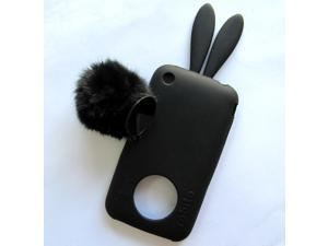 Demarkt®Series Bunny Design Silicone Case for Apple iPhone 3 / 3S (Black)