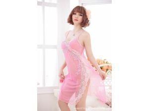 Demarkt® Hot sexy lady pajama dress full Embroidery Perspective Sexy lingerie sexy sleepwear sexy nightwear + sexy T pant