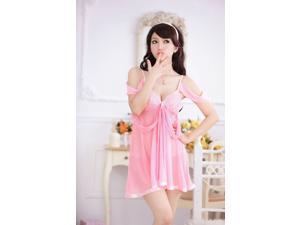 Demarkt New Sexy Women's Lace Lingerie sling style shoulder strap One Piece nightgowns sleepwear/underwear  nightwear-Pink
