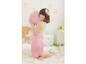 Demarkt New Stylish Sexy Women's Halter lace bow sexy sleepwear Lingerie One Piece Bathrobe Sleepwear Nightwear - Pink