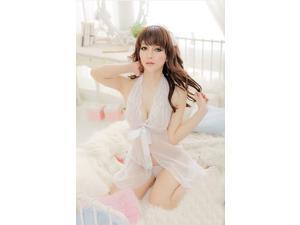 Demarkt New Stylish Sexy Women's Halter lace bow sexy sleepwear Lingerie One Piece Bathrobe Sleepwear Nightwear - White