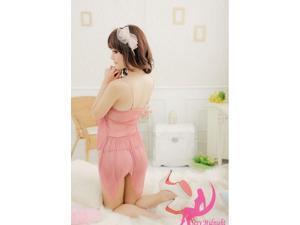 Demarkt New Stylish Sexy Women's Chiffon pajamas cute suspenders sleepwear Lingerie One Piece Bathrobe Sleepwear Nightwear - Pink