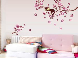 Demarkt Sleeping Monkey & Peach Blossom Tree Pattern Home Decor Wall Paper Wall Sticker Mural Art Decal For Room TV Background Living Room Bedroom