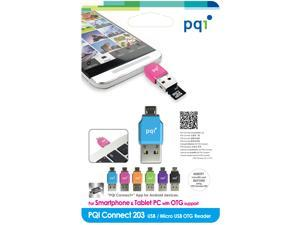 PQI Connect 203, PQI Connect 203, Micro USB OTG / USB Card reader for Micro SD cardThe Best micro SD card reader Companion for Smart Phone & Tablet