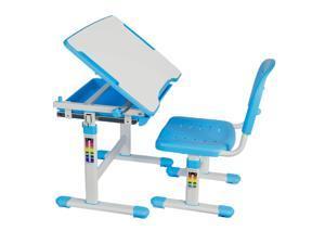 VIVO Height Adjustable Childrens Desk & Chair Kids Interactive Work Station Blue