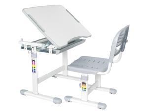 VIVO Height Adjustable Childrens Desk & Chair Kids Interactive Work Station Grey
