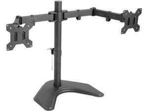 "Dual LCD Monitor Free Standing Desk Mount/ Stand Heavy Duty Fully Adjustable fits 2/two Screens up to 27"" ~STAND-V002F"