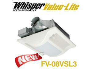 PANASONIC FANS - WHISPERVALUE FV-08VSL3 - BATHROOM EXHAUST FAN WITH LIGHT - 80 CFM - 1.3 SONES - 4 INCH OVAL DUCT