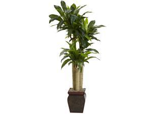 Nearly Natural 4.5' Real Touch Cornstalk Dracaena With Vase