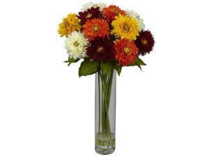 Nearly Natural 1246-AS Assorted Sunflower w/Cylinder Silk Flower Arrangement