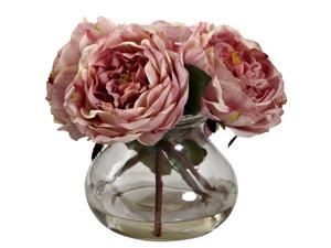 Nearly Natural Fancy Rose With Vase In Pink