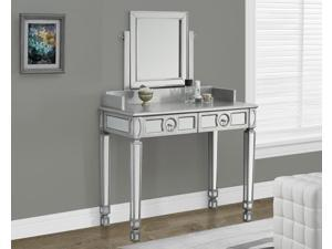 Monarch Specialties Brushed Silver Mirrored Vanity With 2 Drawers I 3711