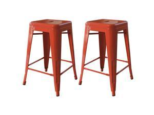Buffalo Tools AmeriHome 24 Inch Orange Metal Bar Stool 2 Piece