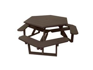 Eagle One Hexagon All Greenwood Picnic Table In Brown