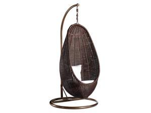 Fine Mod Imports Rattan Hanging Chair w/ Stand in Chocolate Rattan