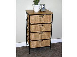 4D Concepts Farmington 4 Drawer Check With Wood Top In Maize Weave