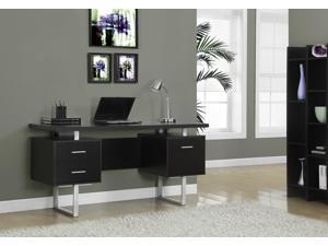 Monarch Specialties Cappuccino Hollow-Core Silver Metal Office Desk I 7080
