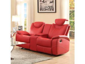 Homelegance Talbot Double Reclining Loveseat in Red Leather