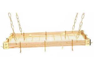 Rogar KD Rectangular Hanging Pot Racks with Grid In Light Wood and Brass