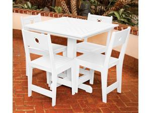 Eagle One 5 Piece Cafe Square Table Dining Set In White