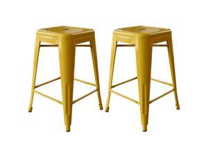 Buffalo Tools AmeriHome 24 Inch Gold Metal Bar Stool 2 Piece