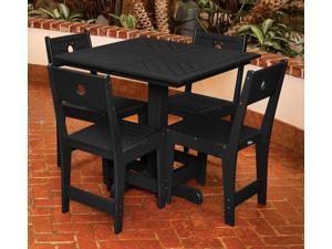 Eagle One 5 Piece Cafe Square Table Dining Set In Black