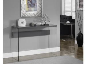 Monarch Specialties Glossy Grey Hollow-Core Tempered Glass Sofa Table I 3294