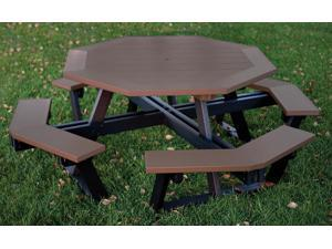 Eagle One Hexagon All Greenwood Picnic Table In Black/Brown